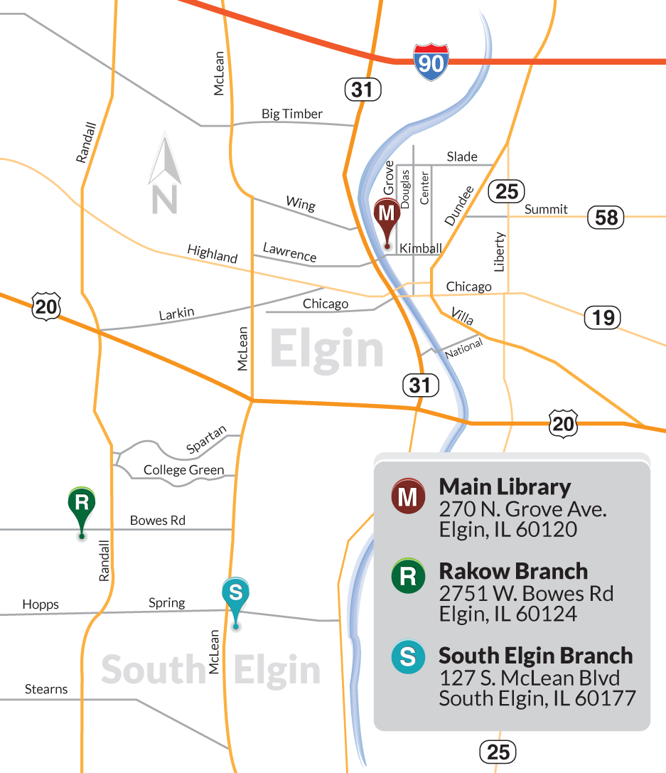map of rakow and main library locations