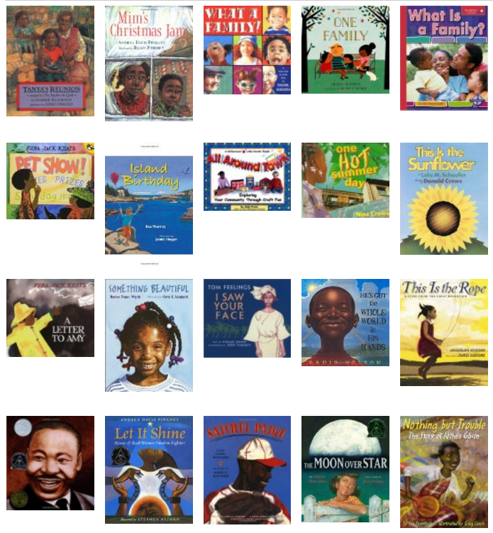 Book covers of titles on multicultural bookshelf