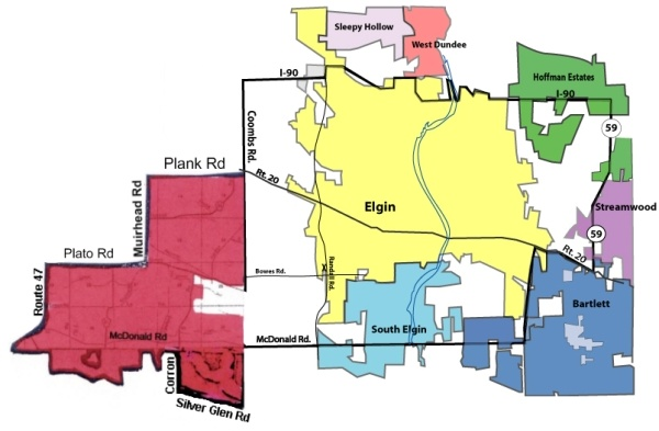 Gail Borden District Boundaries - Communities View Map